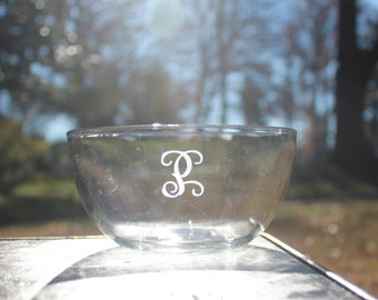 Monogrammed Engraved Glass Cereal or Soup Bowl
