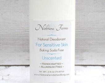 Baking Soda Free Deodorant - Natural Unscented Deodorant - Aluminum Free Deodorant - Handmade Natural Deoderant - 2.5 oz. Stick Deodorant