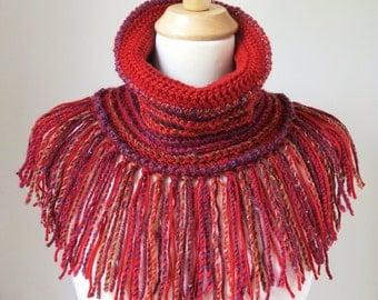 Fringed Boho Scarf, Red Neck Warmer, Burgundy Cowl Scarf, Unique Bohemian Clothing, Cranberry Shawl with Fringe