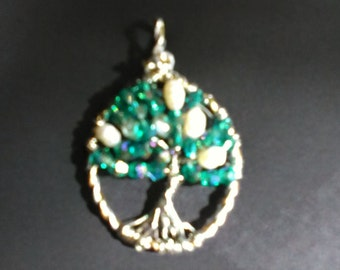 Freshwater Pearl and Crystal Tree of Life Pendant