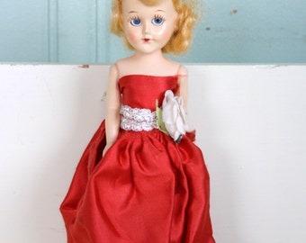 Sleepy Eye Doll Celluloid Blond Red Dress