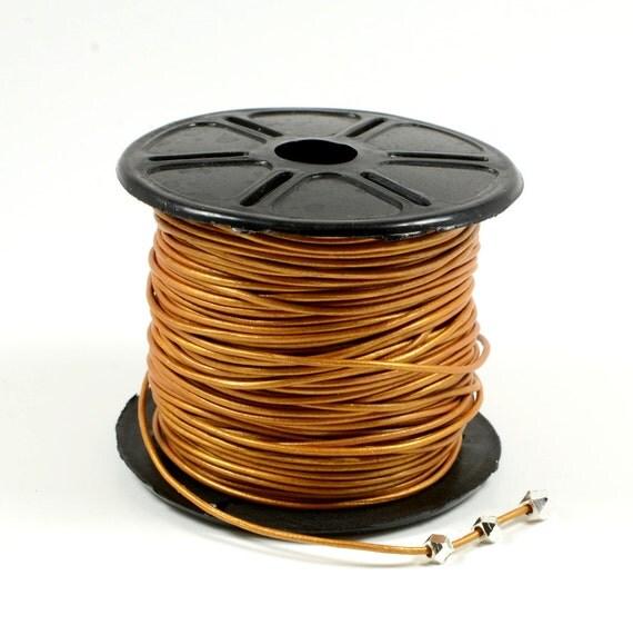 1mm leather cord in metallic light brown, fine genuine leather cord - 1 yard/order