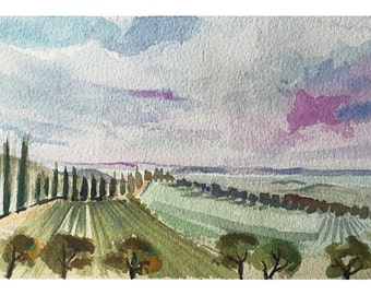 Brolio Castle, Panoramic view of hills and vineyards, watercolor