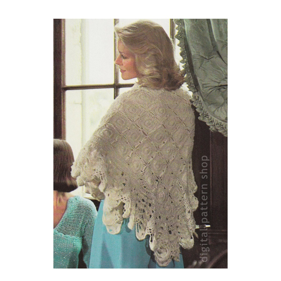 Crochet Triangle Shawl Patterns For Beginners : Crochet Shawl Pattern Ecru Motif Shawl Crochet Pattern