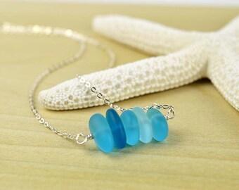 Blue sea glass necklace shades of blue sea glass jewelry ocean necklace aqua blue necklace sterling silver aqua blue seaglass beach jewelry