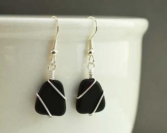 Black sea glass earrings sea glass jewelry seaglass sterling silver jewelry handmade jewelry for women beaded jewelry frosted glass beads