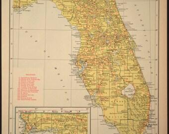 Florida Map Florida Vintage Railroad State 1940s Yellow