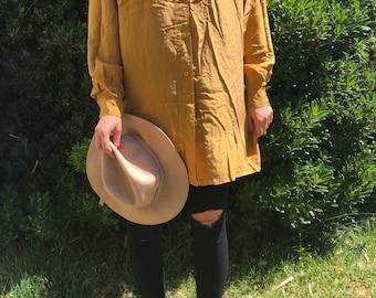 Mustard Silk Long Sleeve Button Down Tunic