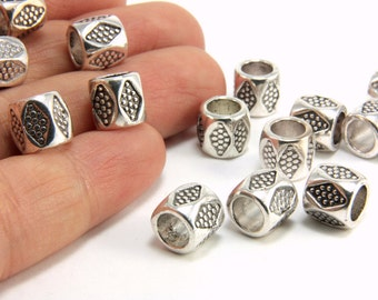 Barrel Spacer Charm, 15pcs Silver Spacer Beads, (8mm x 8mm) Metal Barrel Beads, Silver Bead Spacers, Barrel Spacer Beads, Spacer Beads