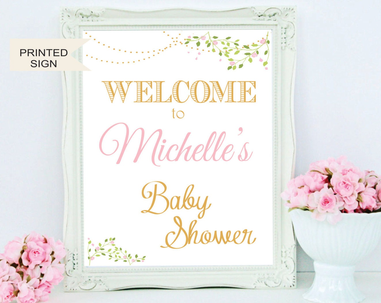 welcome baby shower sign diy pink gold baby shower