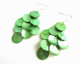 Long Shell Earrings - Mussel Shell Earrings, Green Apple, Big Earrings, Beach Jewelry, Beach Wedding, Chandelier Earrings, Bohemian Jewelry