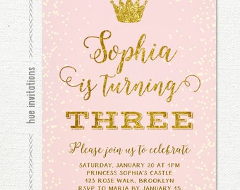girls birthday party invitations, blush pink and gold glitter 3rd birthday printable invitation, princess birthday party invitation