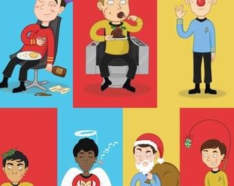 Star Trek Christmas Cards - Original Series - Geeky - Sci fi - Kirk - Spock - McCoy - Scotty - Chekhov - Sulu - Uhura - Khan