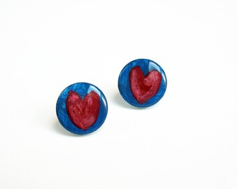 Heart Stud Earring, Hand Painted Earrings, Blue Pink Heart Earrings, Plexiglass Earrings, Plastic Teens Jewelry, 20mm Post Earrings