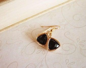 Gold Framed Jet Black Glass Drop Earrings, Gold Triangle Geometric Earrings, Faceted Gem Stone Dangle Earrings