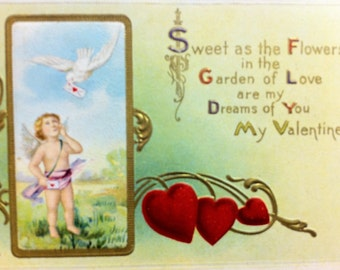 Valentine Postcard Cupid Arrow Hearts Gilded in Gold Holiday Postcard