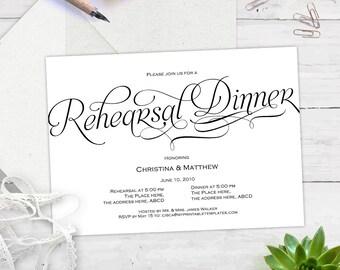 Rehearsal dinner invitation, rehearsal dinner invitation template, instant download, printable, editable text, BS7