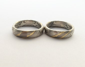 Mokume gane wedding rings-Palladium/Silver/Gold750