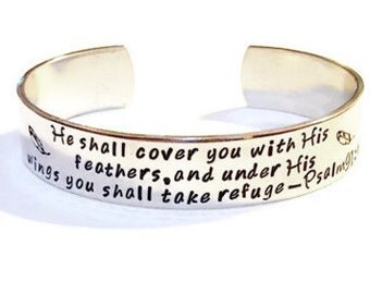 Psalm 91:4 - Bible Verse Jewelry - Scripture Jewelry - Bible Verse Bracelet - Scripture Bracelet - Psalm 91 4 Jewelry - He Shall Cover You