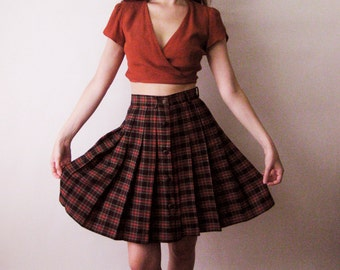 90s Plaid School Girl Skirt Small 26
