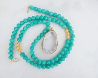 Green Jade and White Druzy Necklace / Jade Necklace / Druzy Necklace / Layering Necklace / Long Necklace / White Druzy