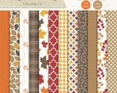 A Wisconsin Fall Digital Scrapbook Paper Pack - Autumn and Fall Nature and Leaves - Commercial Use CU4CU