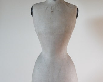 Antique, French, wasp waist, rare small size 38 mannequin or dress form  circa 1900