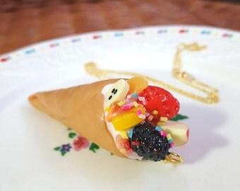 Whipped Cream Crepe / Ice cream cone Necklace