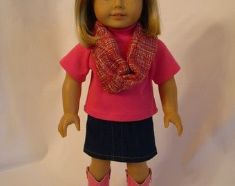 Pink Infinity Scarf, Jean Skirt, Shirt Set with Optional Pink Cowboy Boots for American Girl Doll - Denim Skirt, Pink Top and Cowgirl Boots