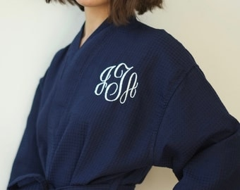 Bridesmaids Gift Robe Monogrammed waffle weave personalized embroidered