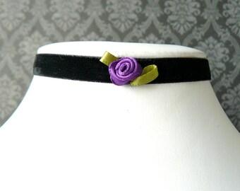 Purple Rose Choker, Narrow Black Velvet Choker, Made to Order Purple Ribbon Rose on Black Chocker, Vintage Style Jewelry, Lolita Jewelry