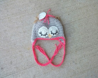 ALREADY MADE REDUCED - 0-3 Months - Sleeping Owl Hat! Handmade crochet baby sleepy owl hat! Baby pictures - Newborn photo shoot