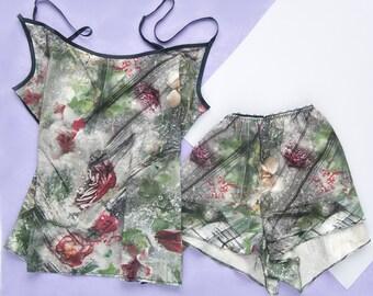 Pajama Set -- Satin Pajamas -- Silk Pajamas -- Lingerie -- Satin Nightwear -- Satin Pyjamas -- Silk Nightwear