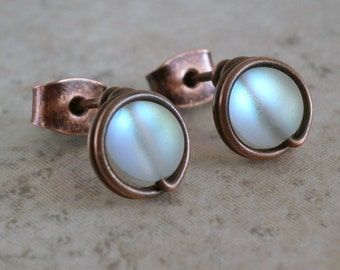 Blue Flash Stud Earrings Faux Moonstone Wire Wrapped Jewelry Wire Earrings Antiqued Copper Pure Titanium Grade 1 Unique Stud Earrings Silver