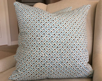 QUADRILLE-Alan Campbell Pillow Cover in Sky Blue and Brown Kells II Linen