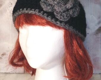 Black with Grey Trim Headband / Ear Warmer - One Adjustable Size  (Custom)