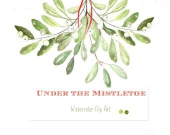 Under the mistletoe Watercolor clip art hand drawn. Winter watercolor,  tender green branches, mistletoe , post cards, wreath, arrangements.