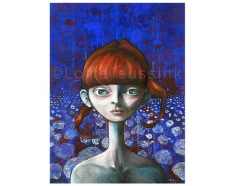 Redhead painting, big eyed girl, original pop surrealism oil painting, unique wall art, lowbrow big eye art, northern gothic fantasy art