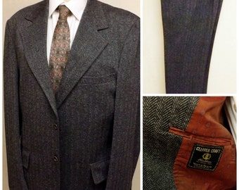 60s Clipper Craft Mens Gray Herringbone Wool Blend Suit  Size 42R