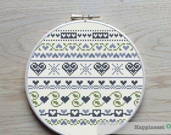 cross stitch borders pattern, hearts, PDF pattern, ** instant download**