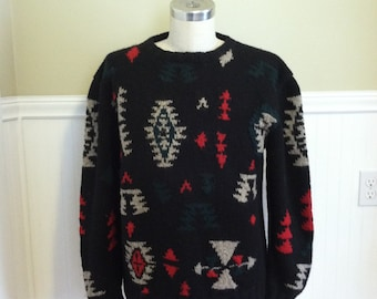 Ralph Lauren Tribal HAnd knit Sweater Indian Blanket Southwest Navajo Aztec Blacks Whites Reds Ski Polo Western