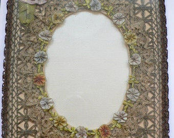 1920's  Boudoir Frame with  French  Ribbonwork  and Metallic Lace