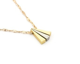 Two Tone Pendant/ Tiny Gold Triangle/ 3 Triangle Necklace/ Bunting Necklace/ Matte Gold Necklace