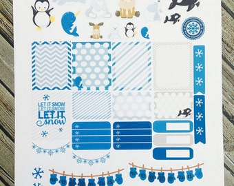 Arctic Friends Weekly Planner Stickers Set, for use with Erin Condren Life Planner, Happy Planner