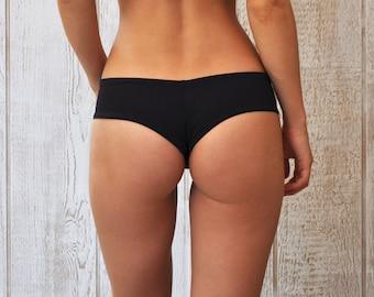 Jesse Hipster Cheeky Bikini Bottom - Black (Self-Lined)