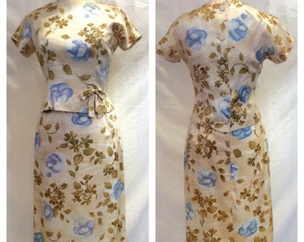 1960s Sleevelss Floral Dress with Overblouse Small 34-25-36