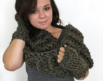 Highland Chunky Cowl - Custom Made - Crochet Cowl - Infinity Cowl - Wide Cowl - Infinity Scarf - Chunky Cowl Scarf - Luxurious Gift for Her