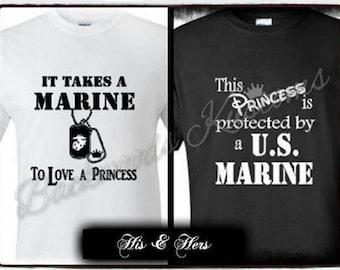 His & Hers MARINE Princess Couples Shirts