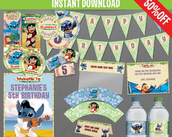 Disney Lilo and Stitch Birthday Party Collection - Instant Download and Edit with Adobe Reader - Lilo in Red Dress - Lilo and Stitch Party