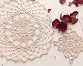 Two Fine Ecru Lace Doilies / Vintage Lace Doily / Lace Coaster